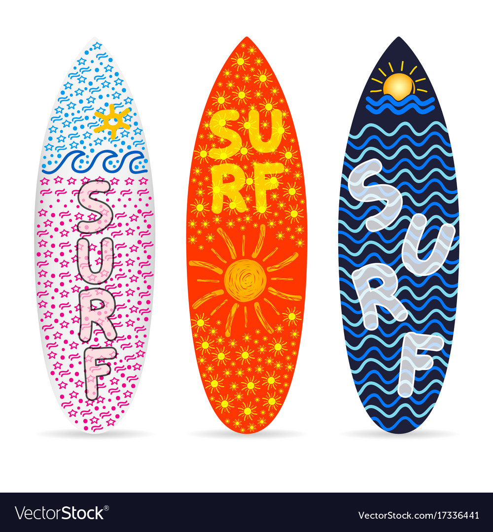 Surfboard Set With Symbol Of Surf Design On It Vector Image