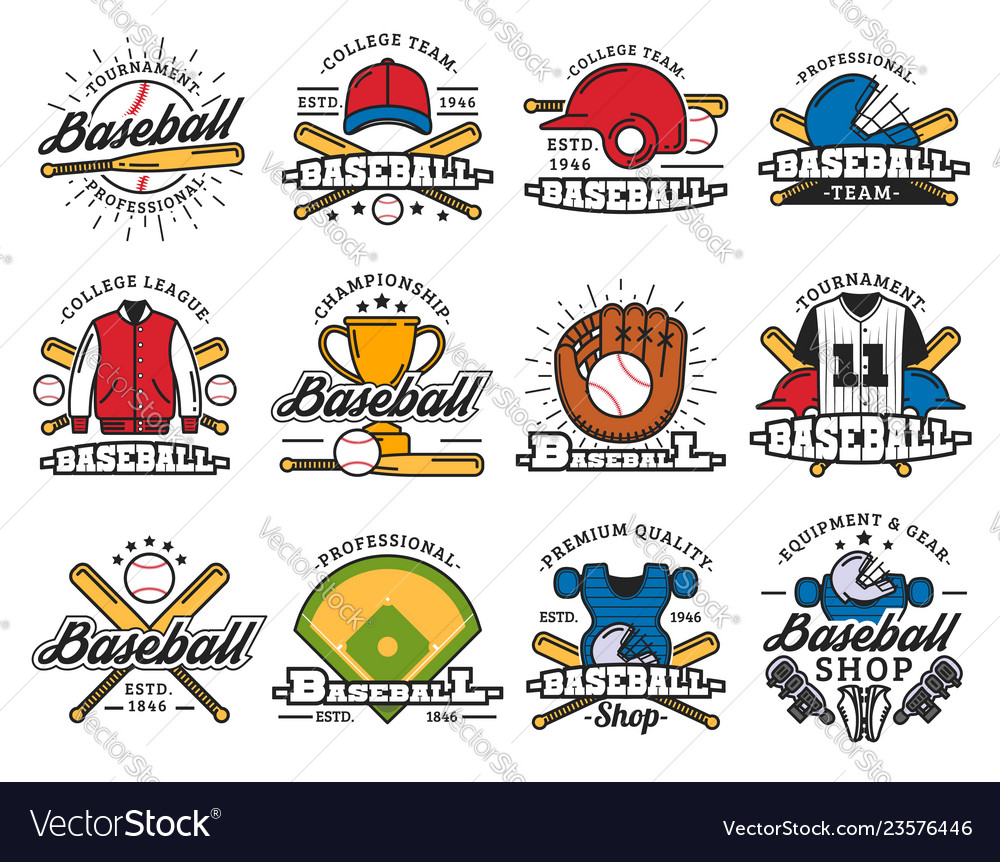 Baseball sport game isolated icons and items