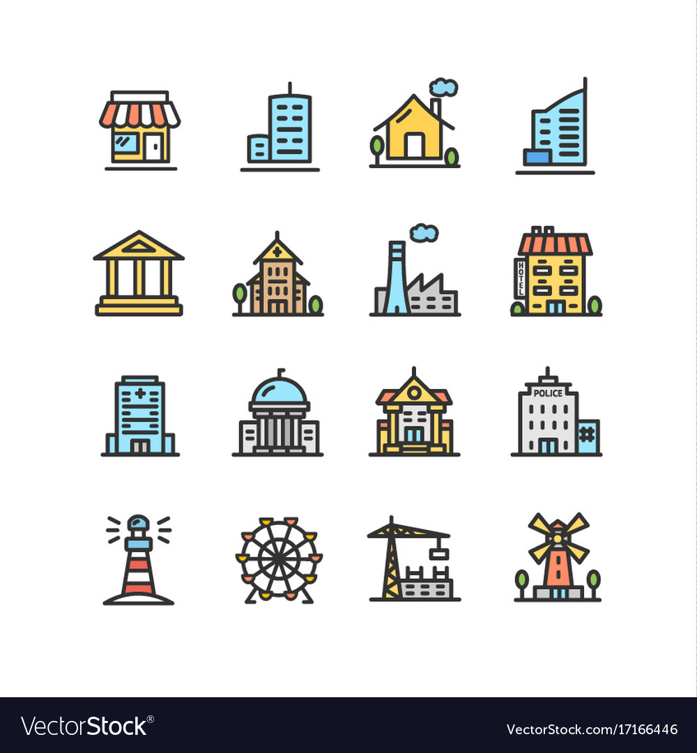 Building house or home color thin line icon set