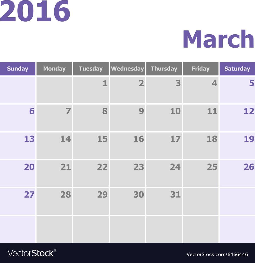Calendar March 2016 week starts from Sunday