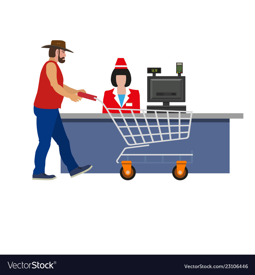 Cashier woman and shopper