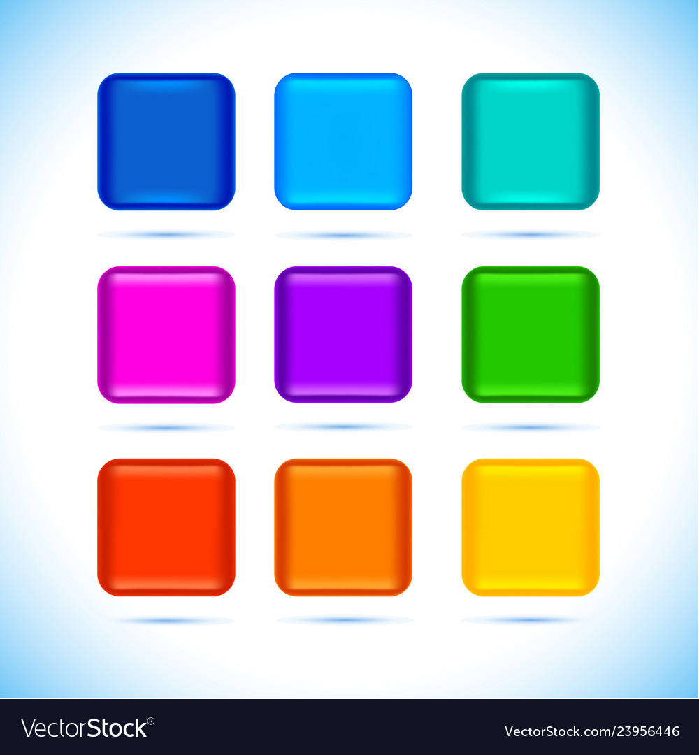 Colored matted blank rounded squares buttons with