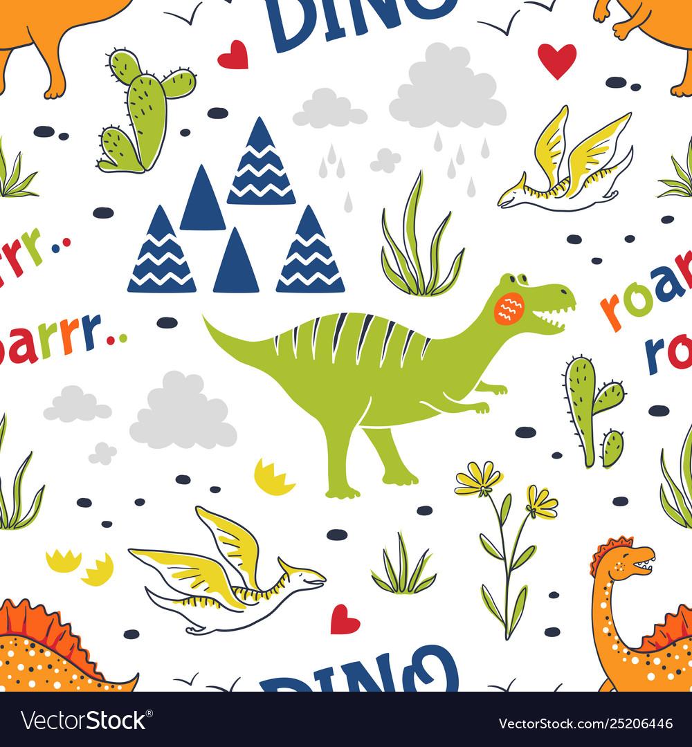 Doodle dinosaur pattern seamless fabric print