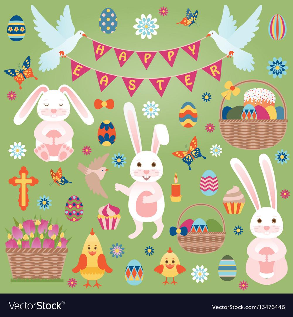 Easter flat icons set