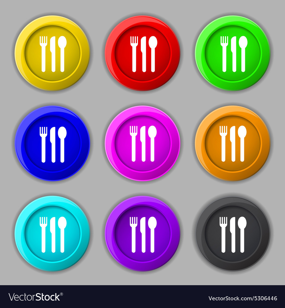 Fork knife spoon icon sign symbol on nine round