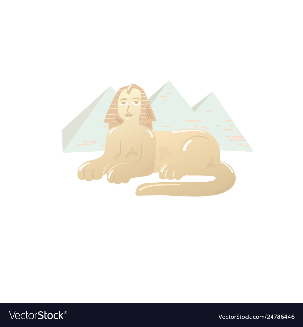 Great sphinx icon drawn on background the