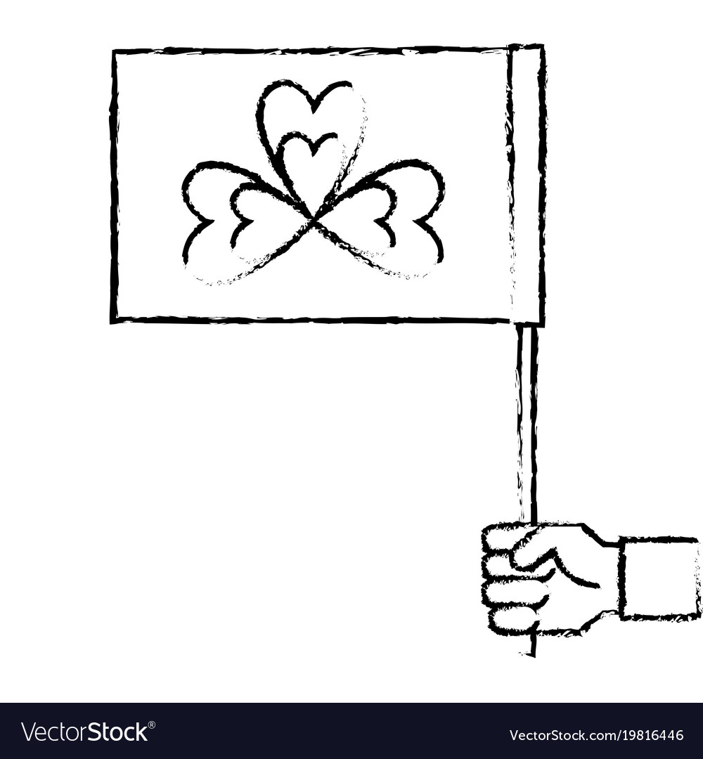Hand holding flag with clover symbol