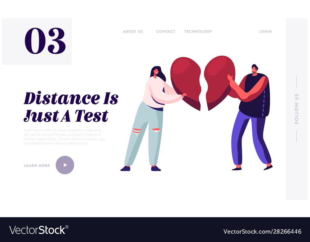 Heartbroken Couple Parting Divorce Website Vector Image