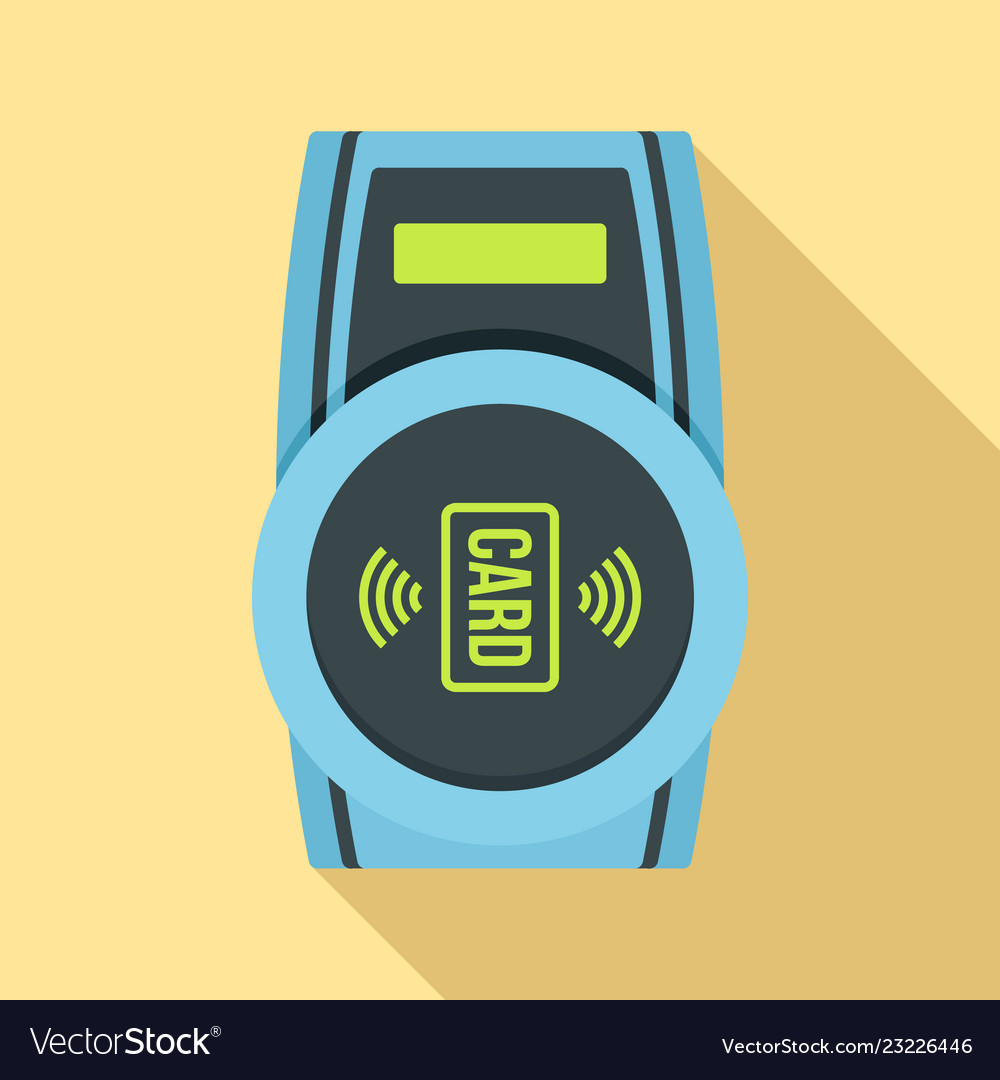 Nfc payment device icon flat style
