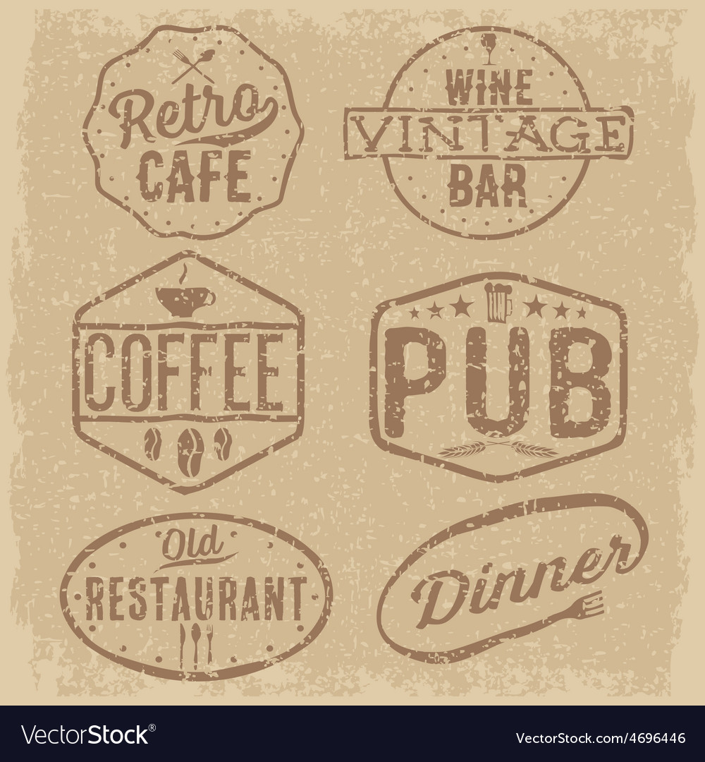 Set of vintage cafe pubwine bar and restaurant