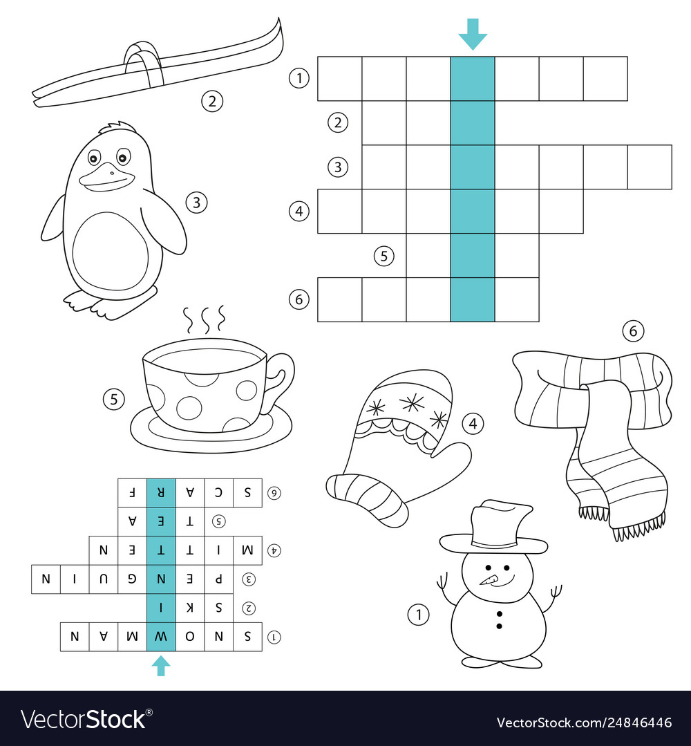 Winter crossword for kids task and answer