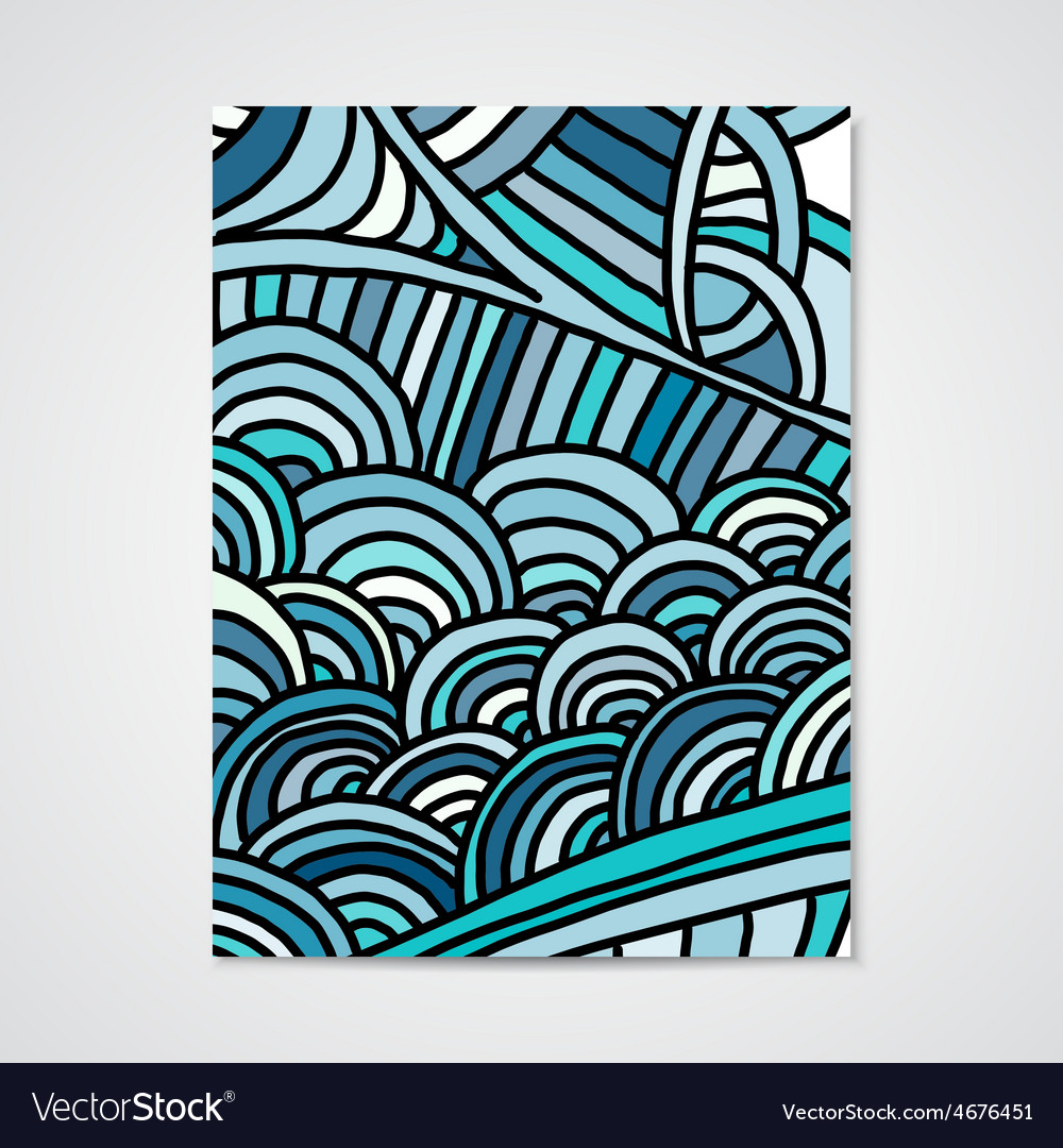 Abstract poster with hand drawn ornament