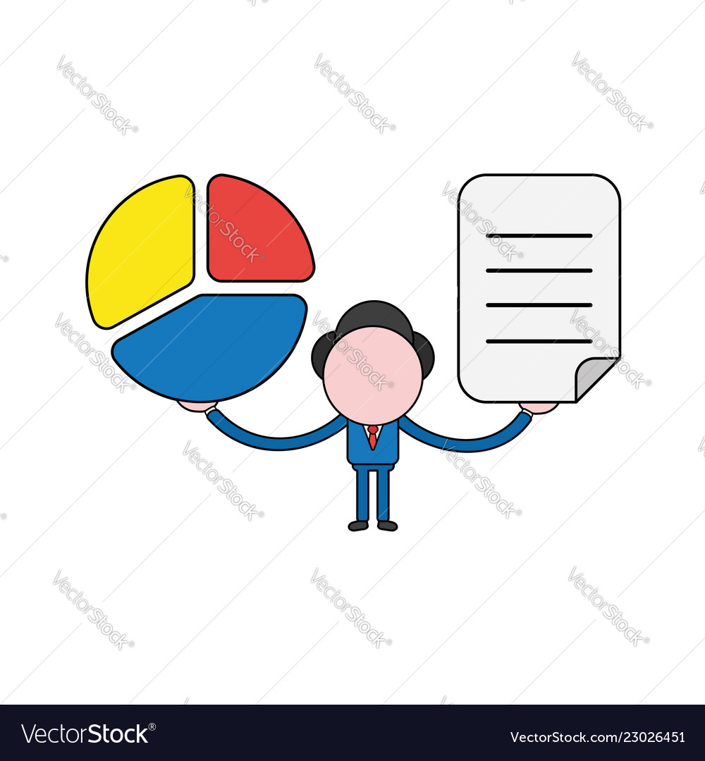 Businessman character holding diagram and written