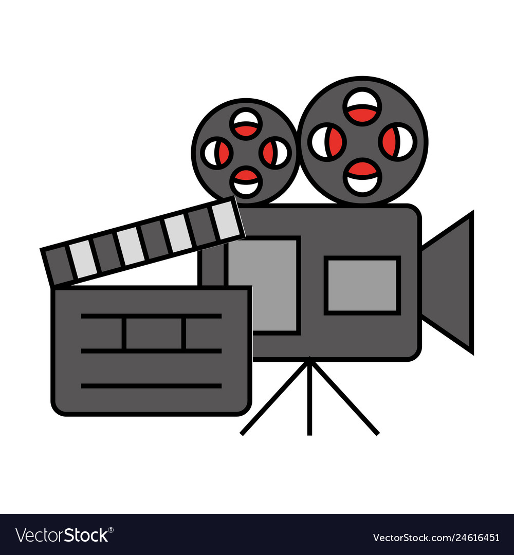 Cinema movie projector camera clapboard