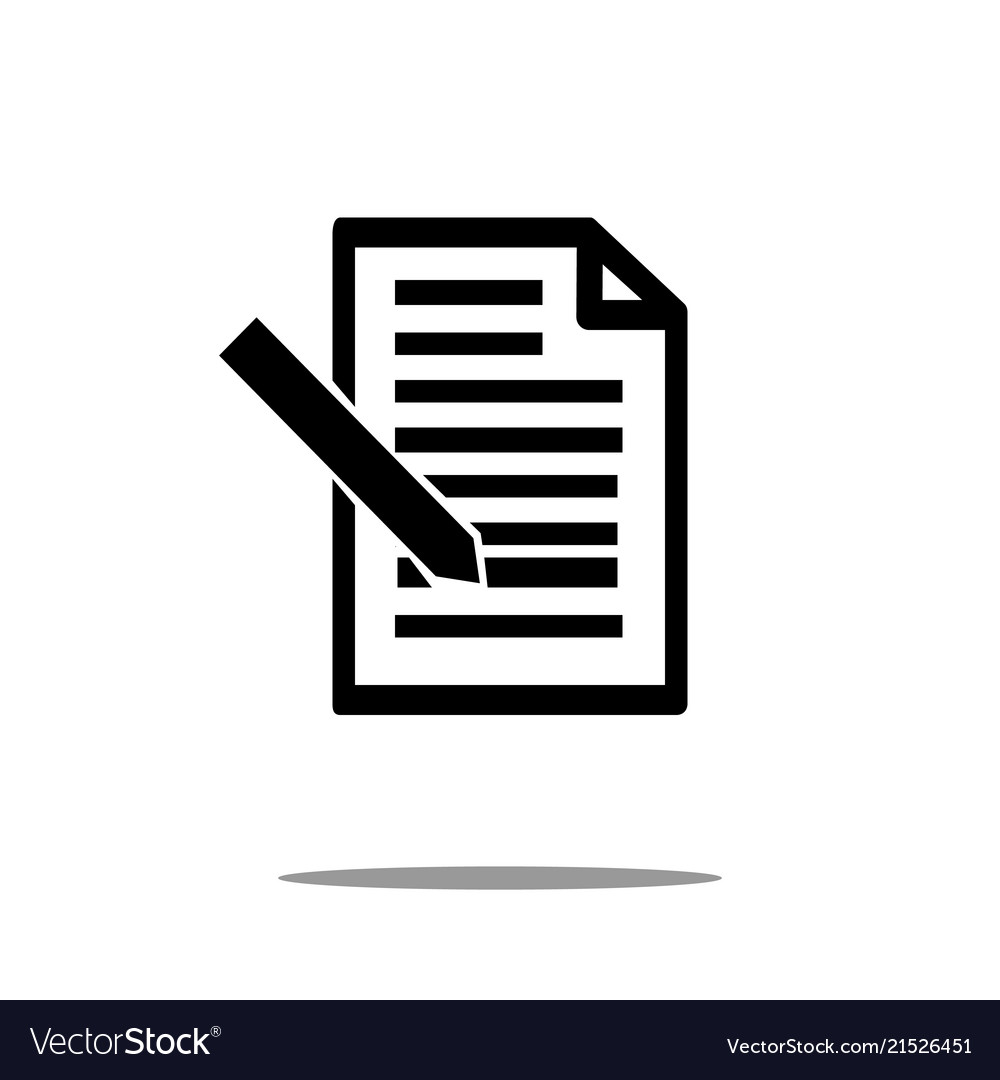 Document icon with pen in trendy flat style