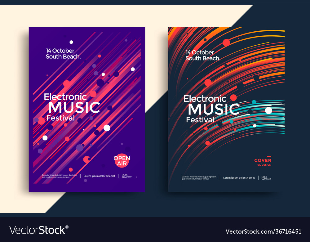 Electro music festival poster with gradient line