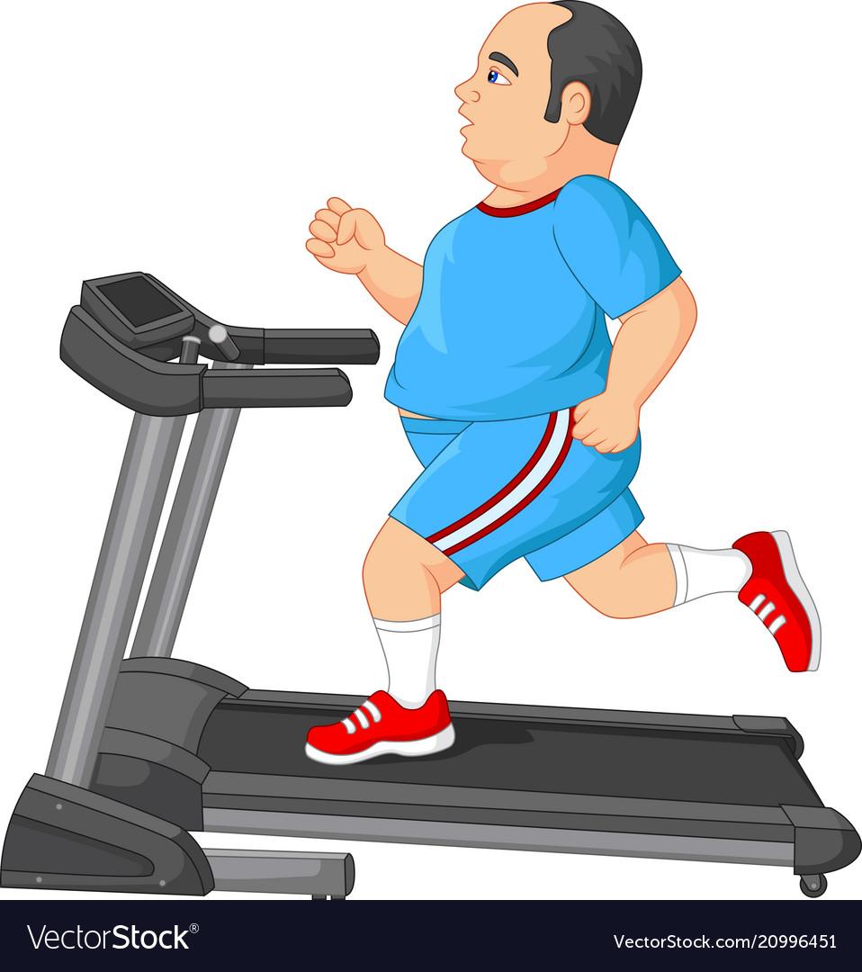 Fat man running on treadmill vector image