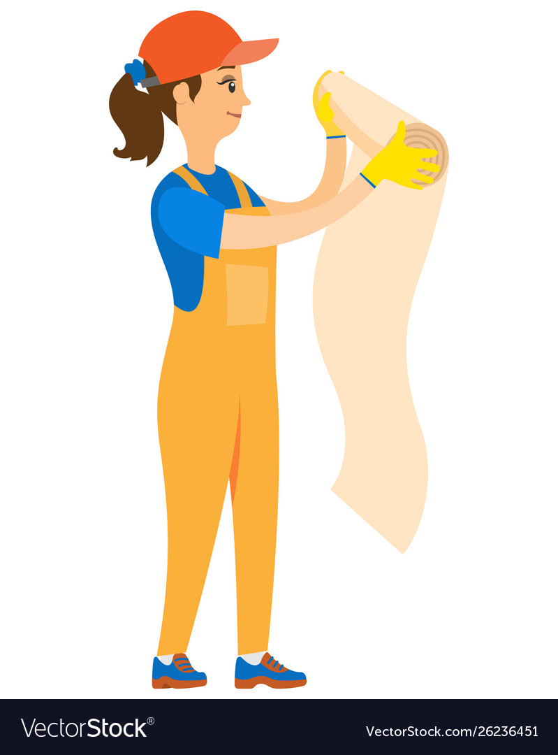 Girl worker wallpapering holding roll