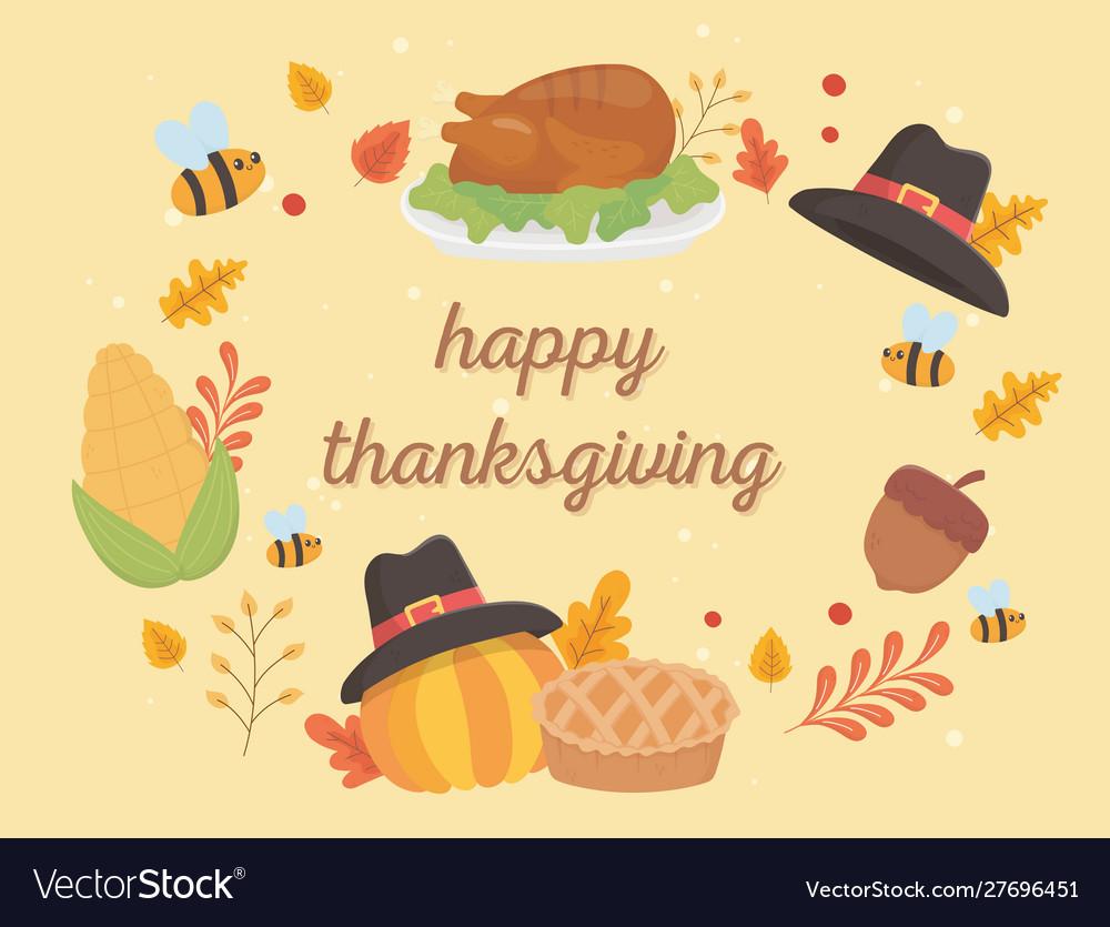 Happy thanksgiving celebration lettering turkey