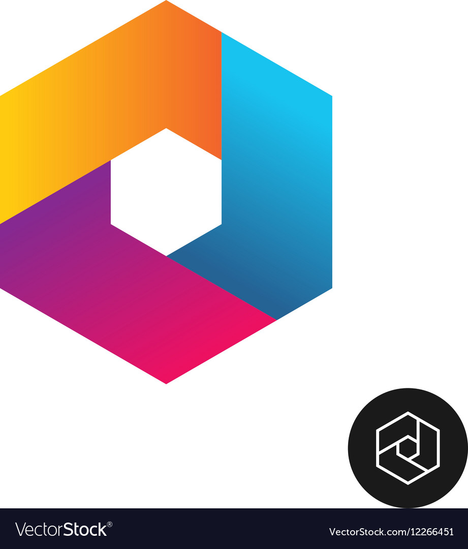 Hex tech logo abstract colorful style