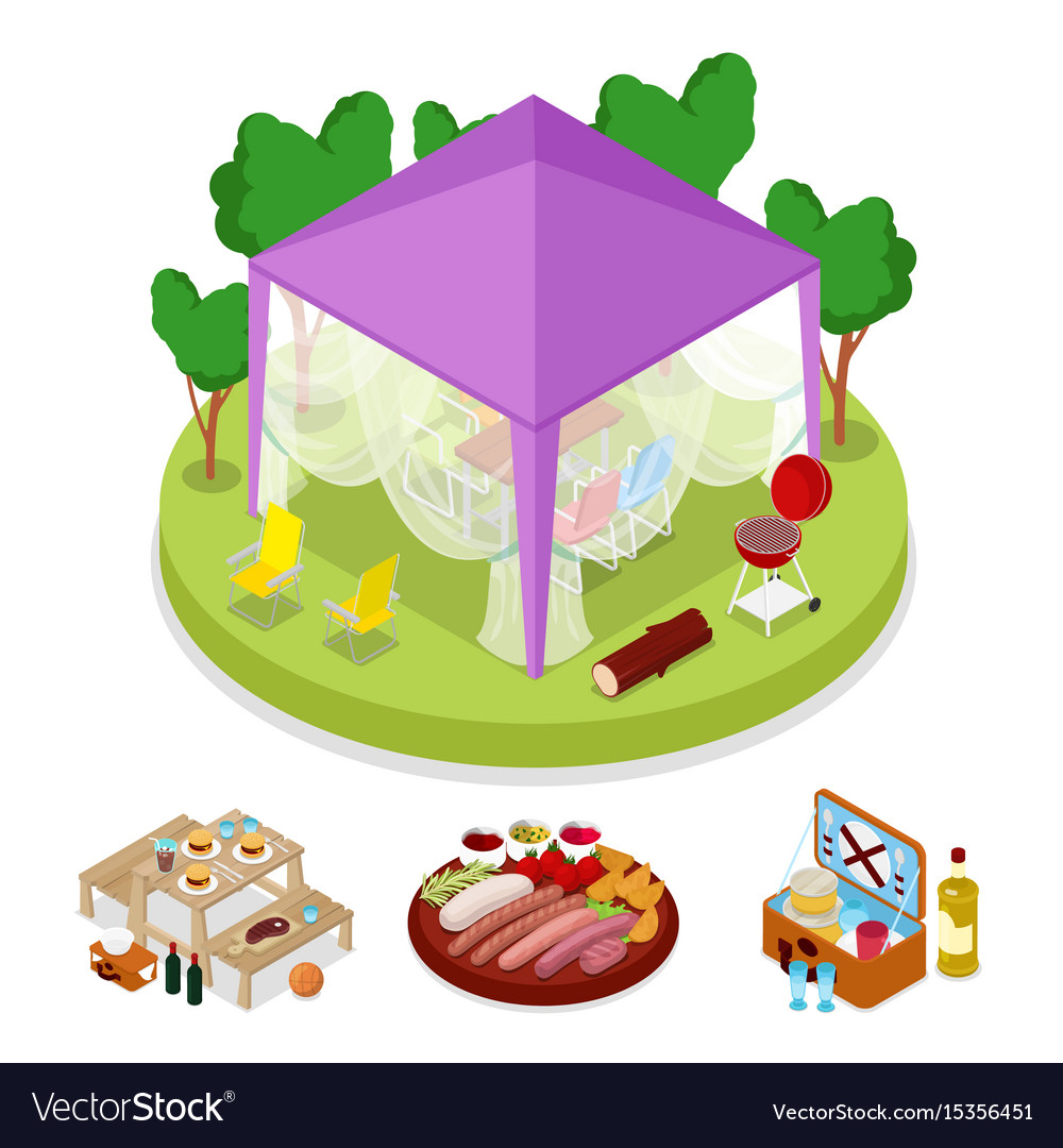 Isometric bbq picnic party in tent summer camp