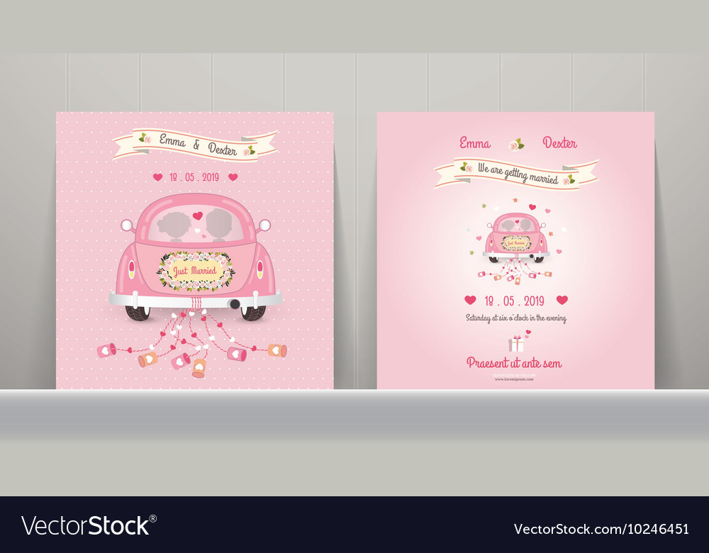 Just married car wedding invitation card vector image stopboris Image collections