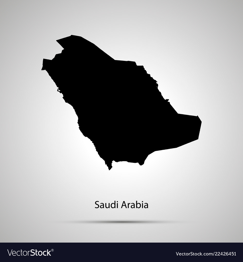 Saudi arabia country map simple black silhouette