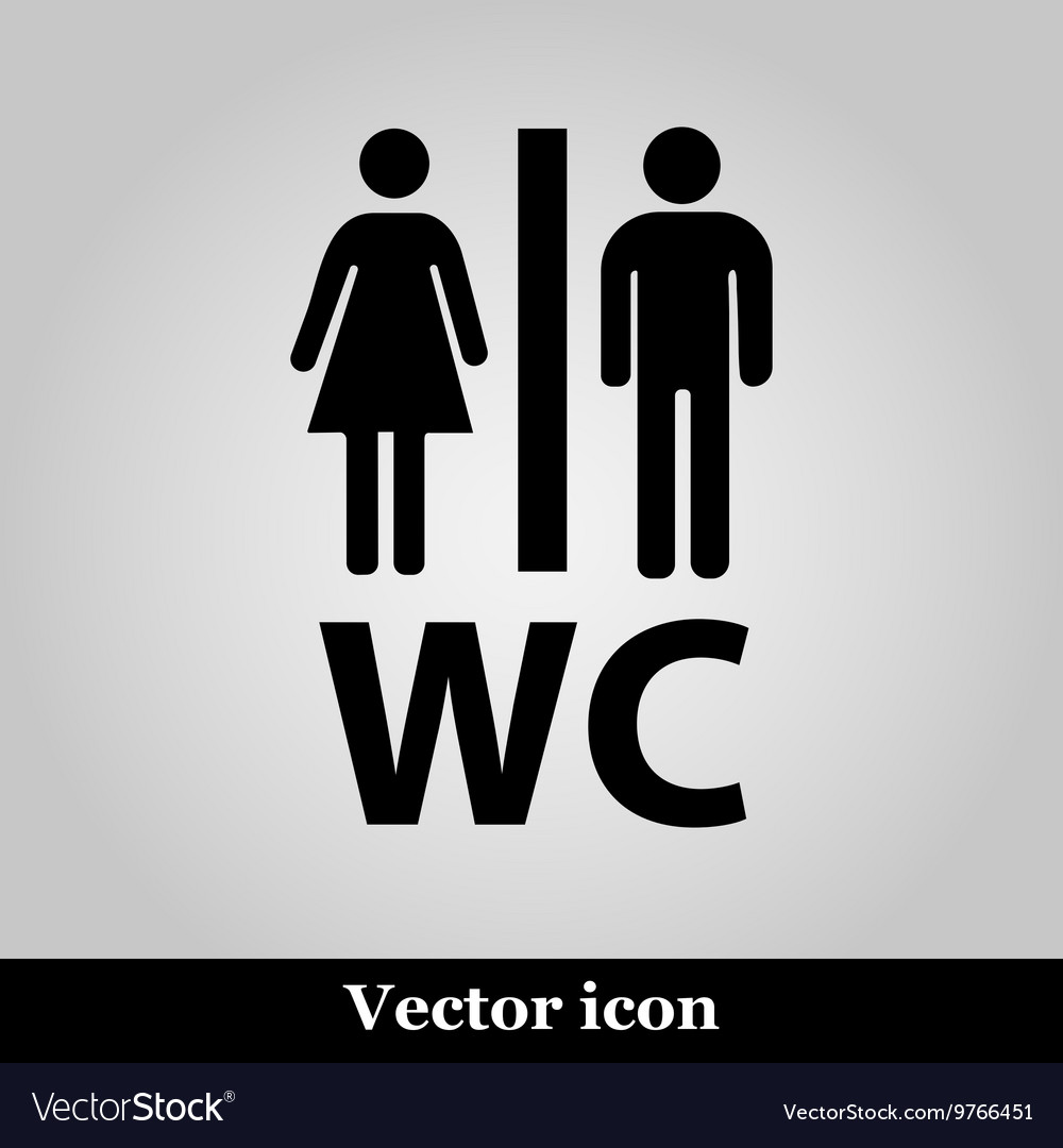 WC flat icon on grey background