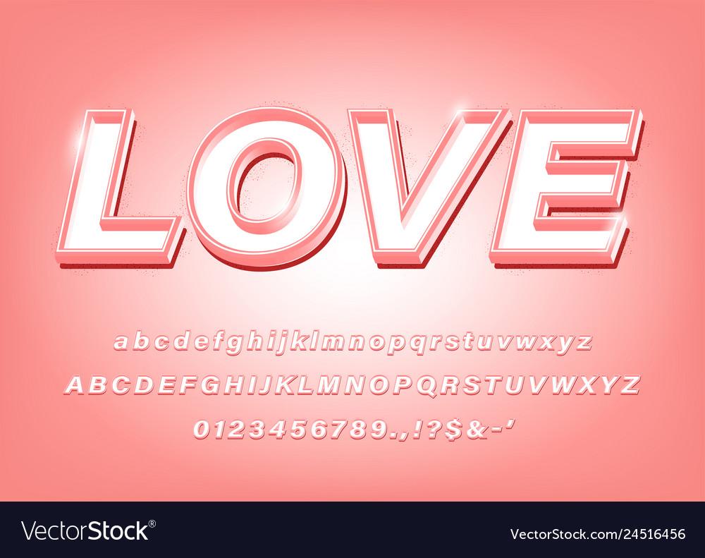 3d pink alphabet love bold font