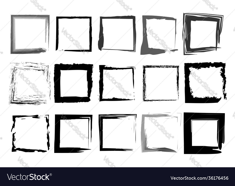 Black frames set square shaped old grungy borders