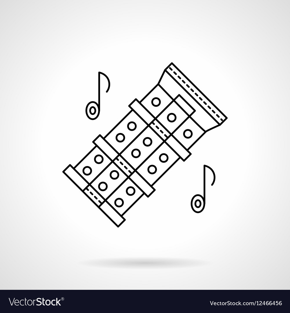 Chinese flute tunes flat line icon vector image