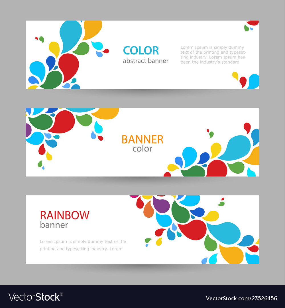 Colored ink set horizontal banners with empty