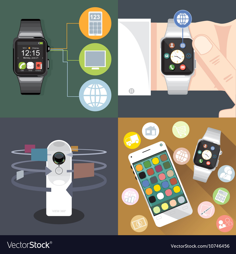 Digital gadget mobile watch vector image