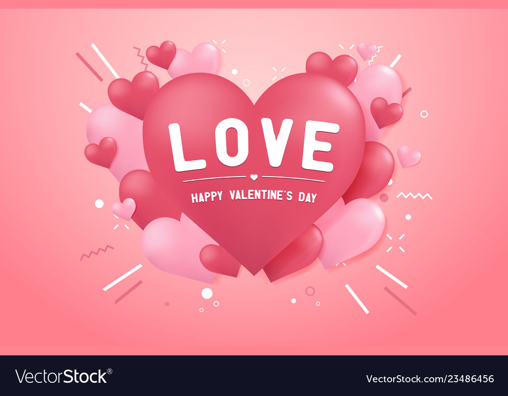 Happy valentines day with heart balloon shape