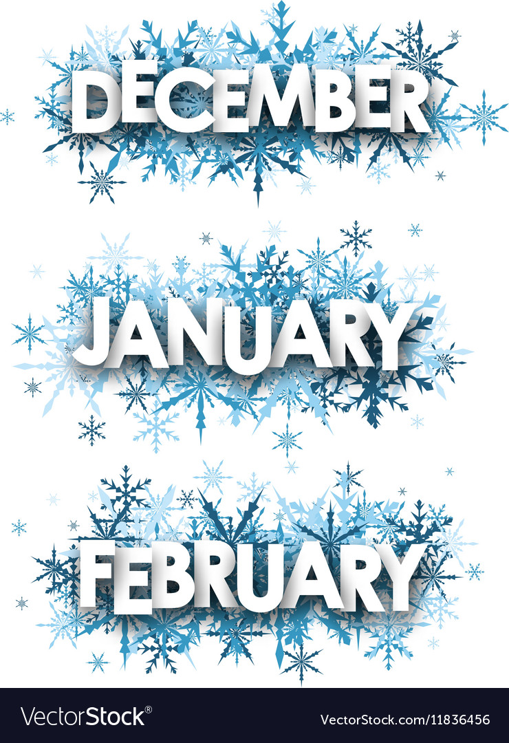 January February December banners Royalty Free Vector Image