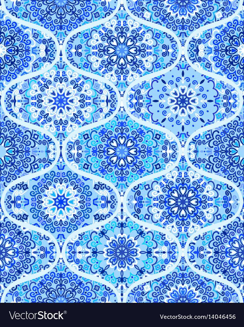 Mandala tile pattern ogee blue background