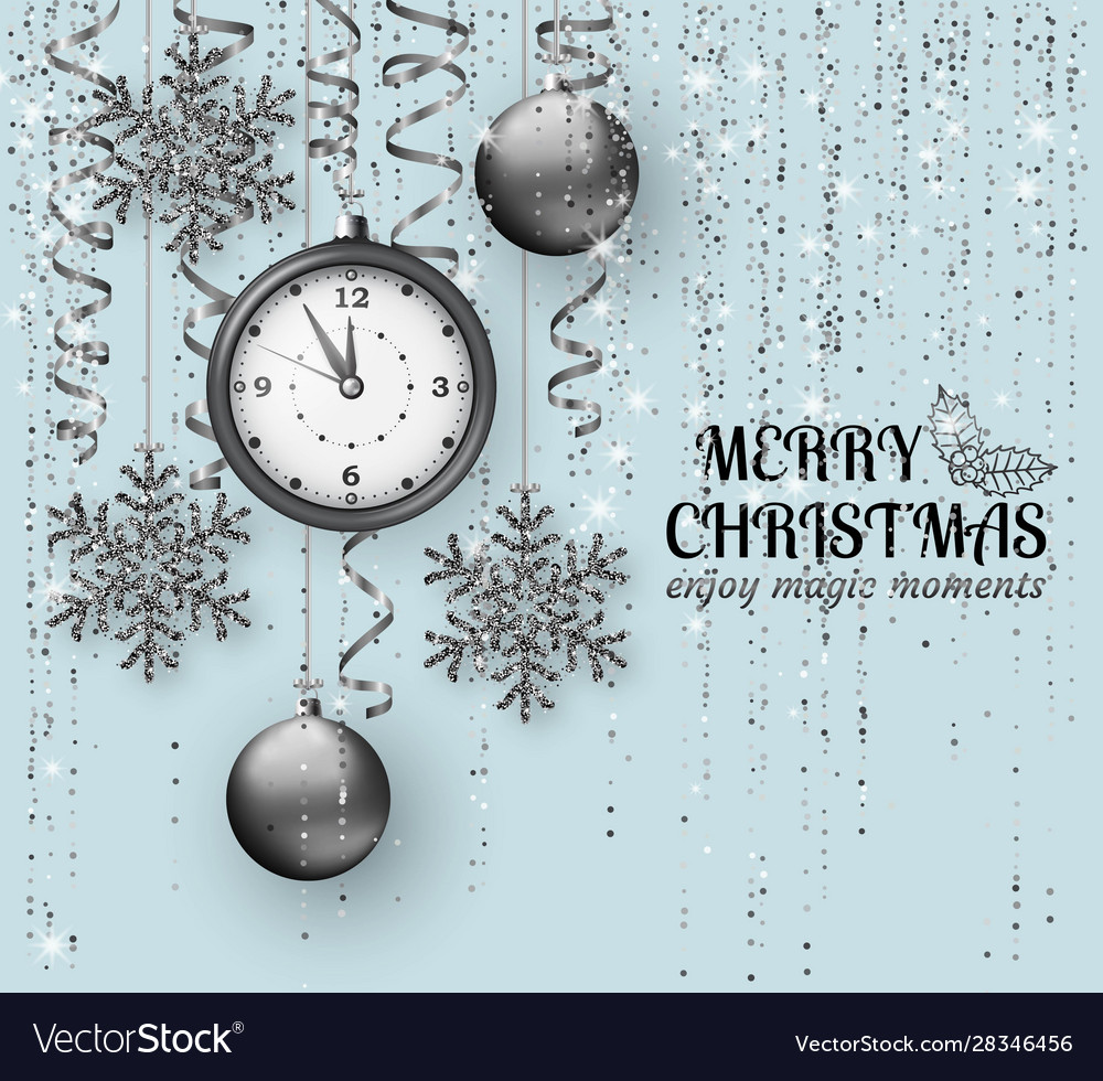 Merry christmas background with shiny snowflakes
