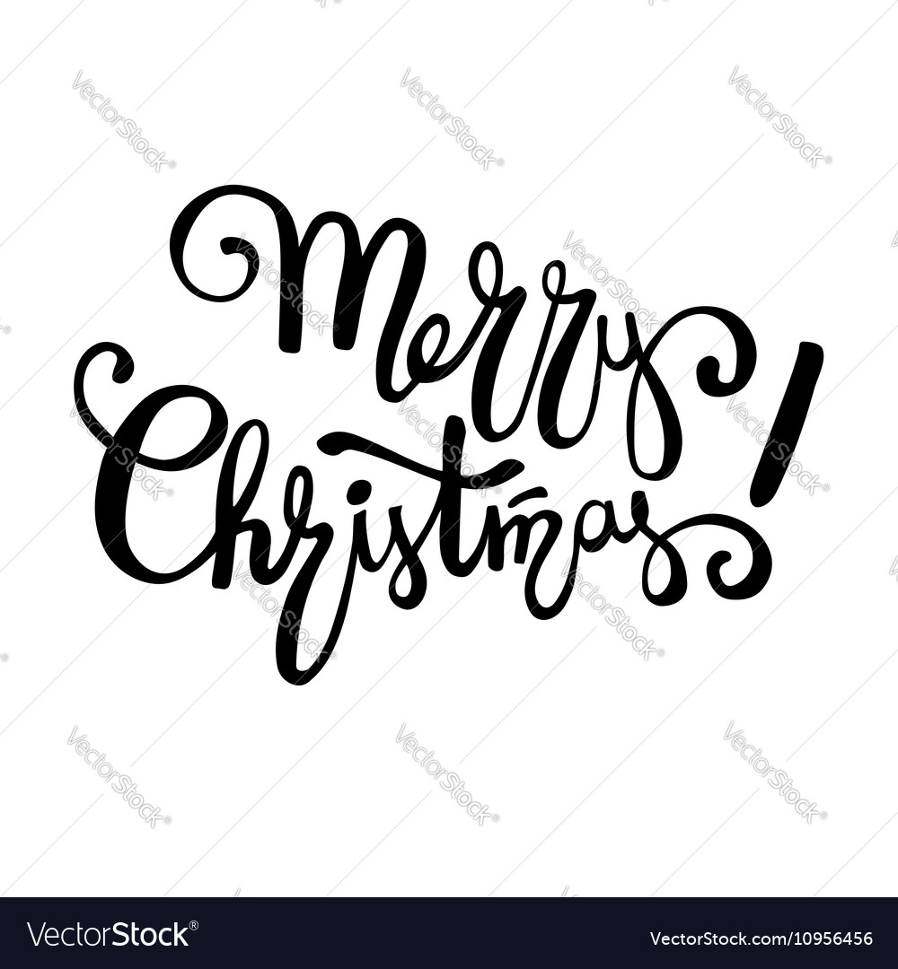 Merry Christmas Lettering.Merry Christmas Lettering Design Handwriting Text