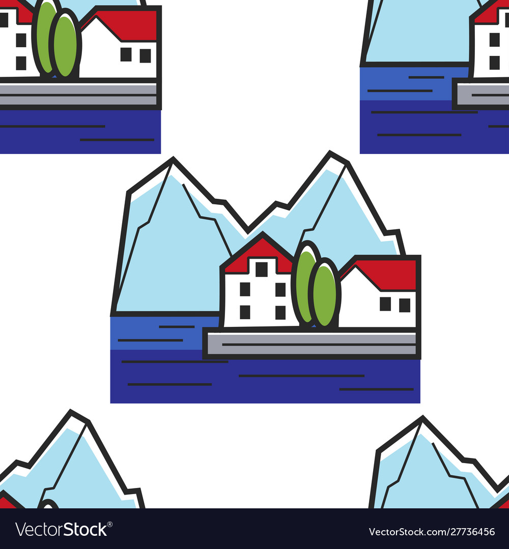 Montenegrin landscape seamless pattern house on
