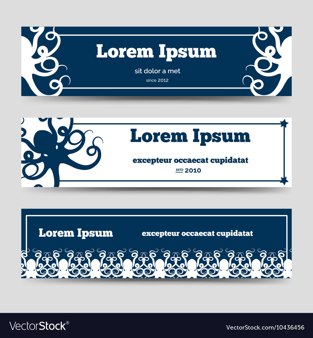 Ocean horizontal banners with octopus