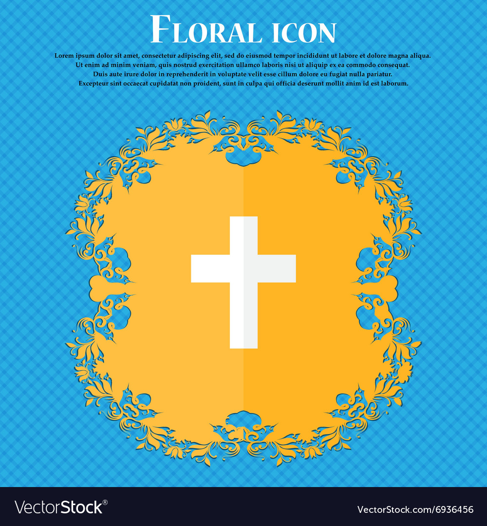Religious cross Christian icon Floral flat design vector image