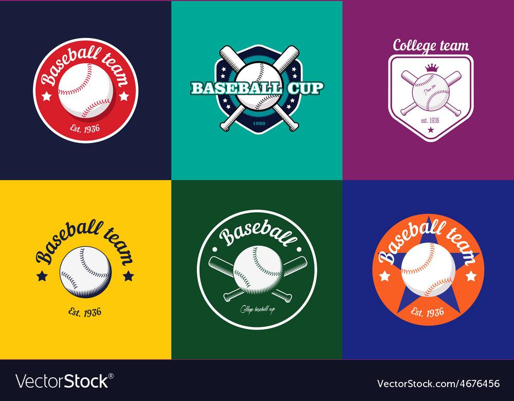 Set of vintage color baseball championship logos