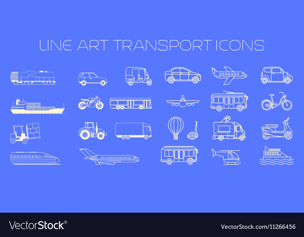 Transport line icons big set
