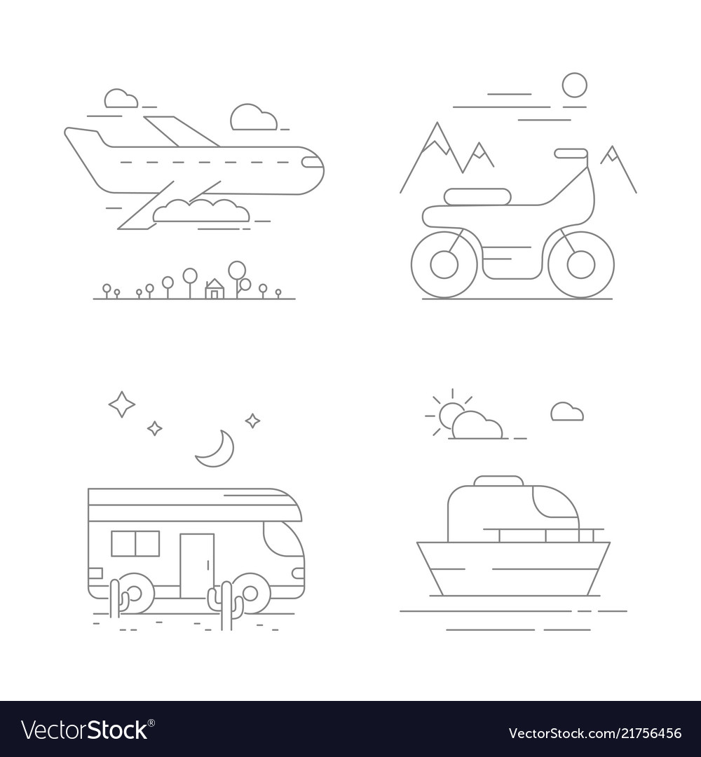 Urban transport icons compositions with