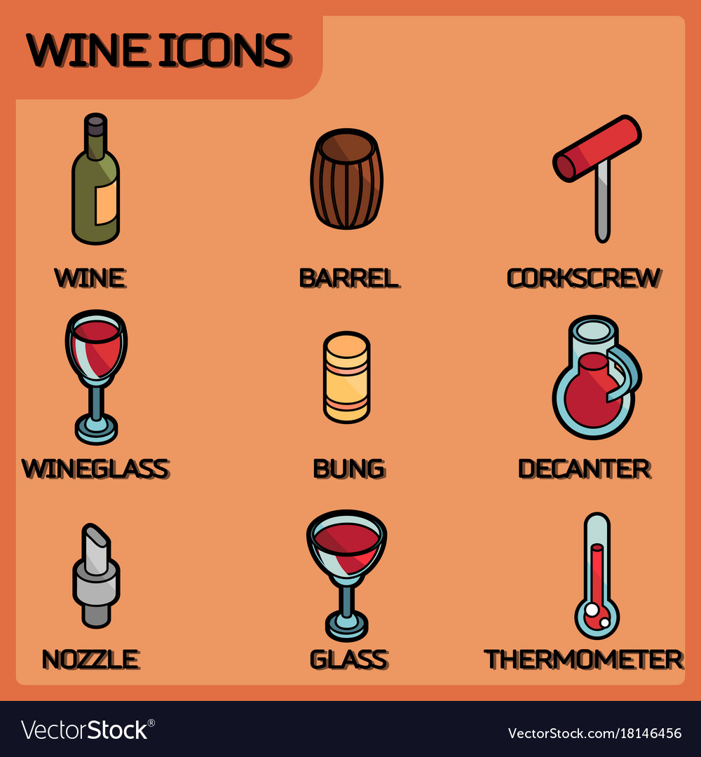 Wine outline color isometric icons