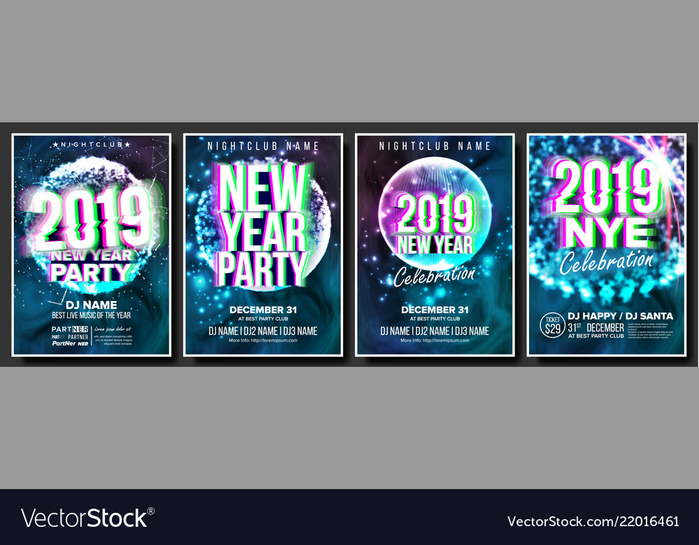 2019 party flyer poster set night club