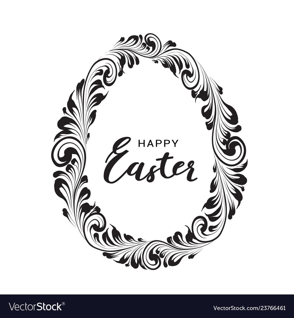Black lines egg isolated on white background