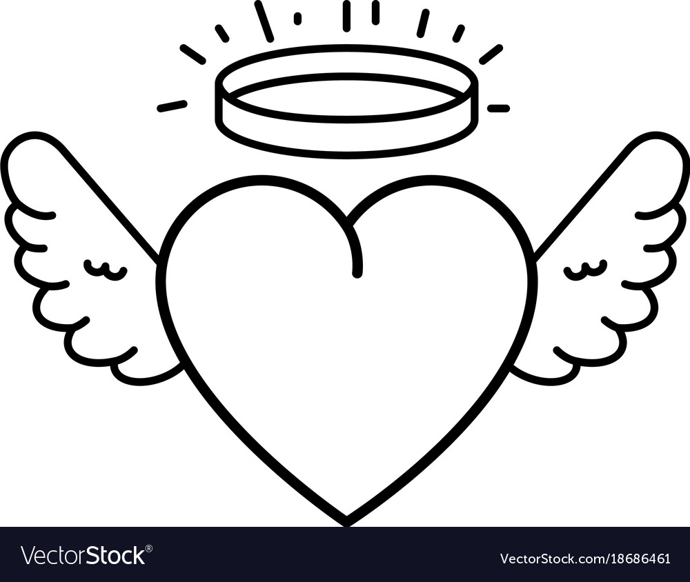 Cute heart with wings and halo Royalty Free Vector Image