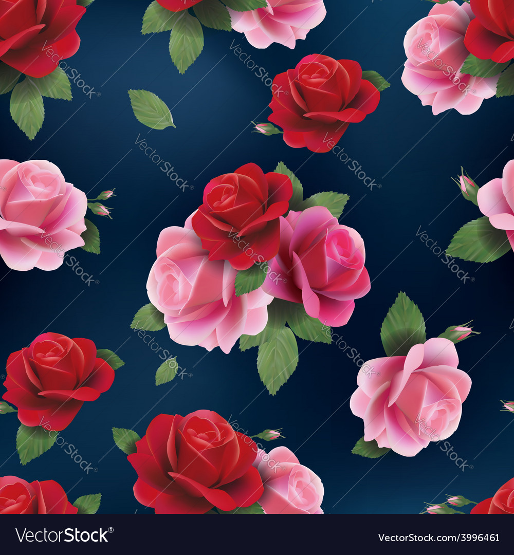 Elegant abstract seamless floral pattern with red