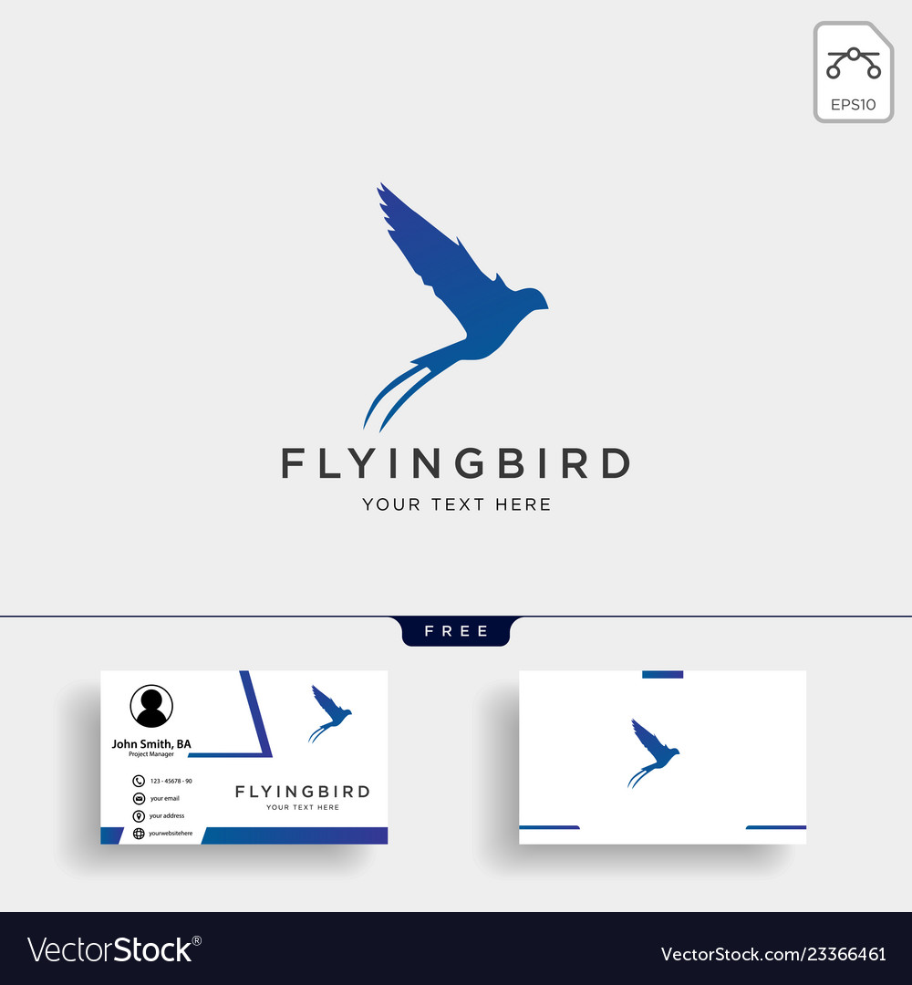 Flying bird swallow logo template with business